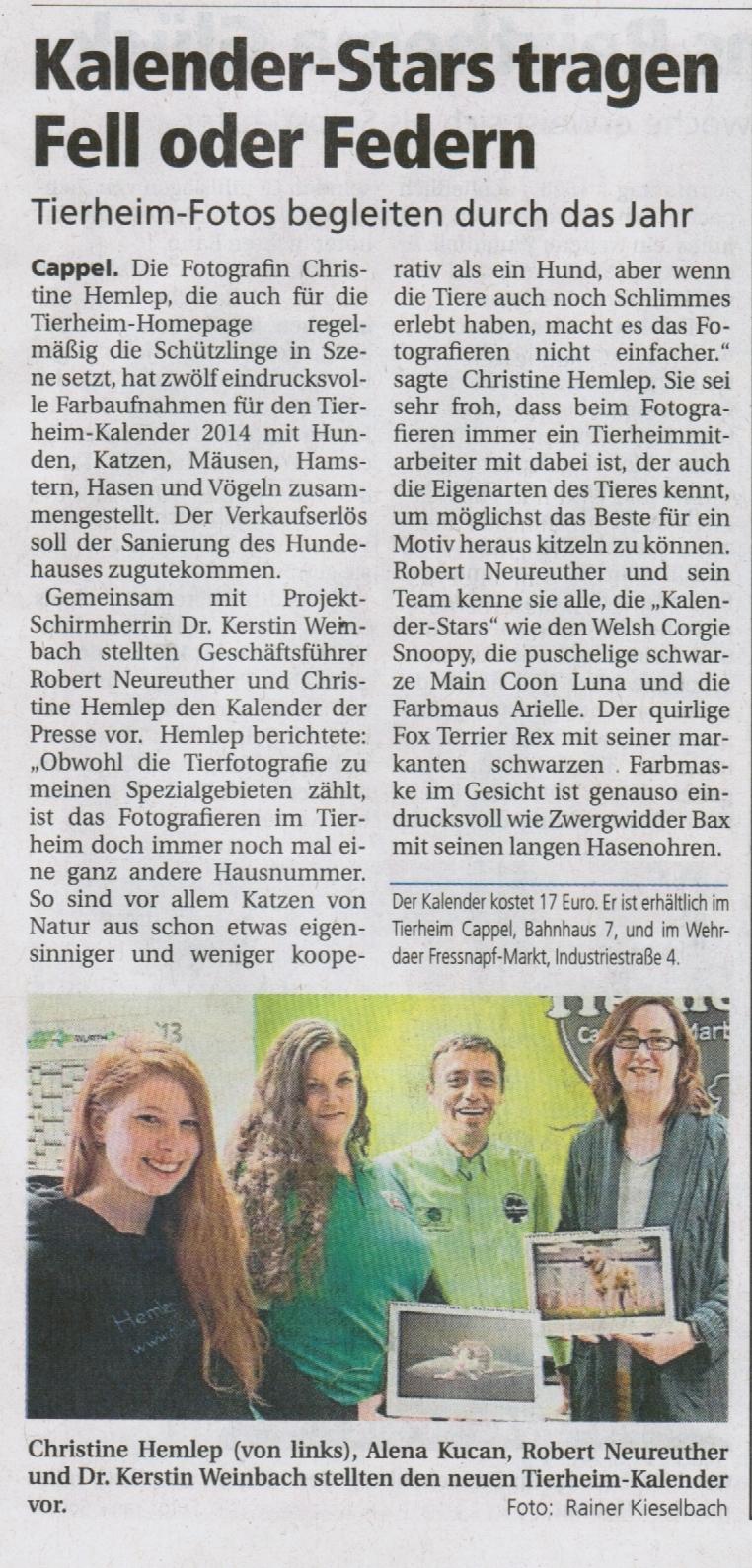 Oberhessische Presse 7.11.2013.