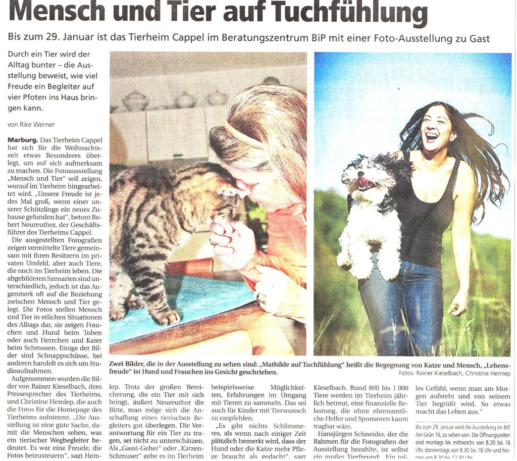 Oberhess. Presse 3.12.2015, Ausstllg. Mensch und Tier
