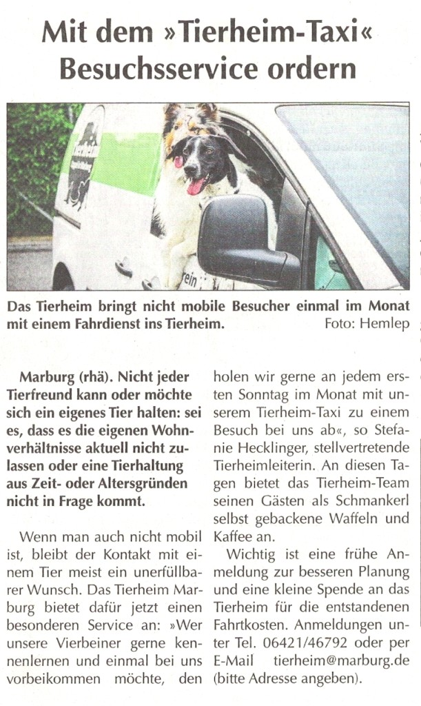 SoMo 24.7.16, Tierheim-Taxi